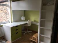 IKEA Children - Loft bed combo w 3 drawers/2 doors STUVA White/green
