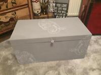 Handmade wooden storage chest grey