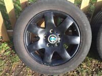4x Genuine BMW E46 Black Alloys 205/55/16 Tyres