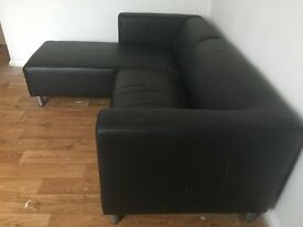 Black Leather Effect Sofa £100
