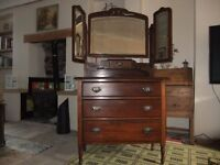 dressing table with triple mirror, art nouveau handles, edwardian mahogany