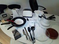 Kitchen set: Kettle, Toaster, Mixer , Wok, Stewpot, Pans, Plates, Bowl, Cutlery, Cups, Grater...