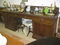 BEAUTIFUL VICTORIAN VERY LONG (8') SOLID OAK SIDEBOARD. PILLAR STYLE, CABINETS. VIEWING/DELIVERY POS