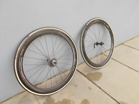 Pair of 4ZA deep section Carbon Fibre Bicycle Wheels