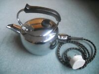 Vintage 60s 70s Swan Electric Chrome Kettle with Plug Lead