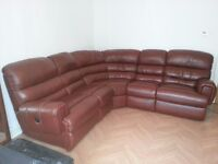 Brown leather, high quality corner 2 seat recliner sofa
