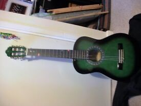Guitar 3/4 size Green Valencia with carry case