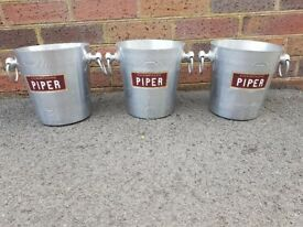 3 VINTAGE PIPER CHAMPAGNE WINE ALLOY ICE BUCKETS BISTRO HOME WINE BAR MAN CAVE RESTAURANT DECOR GC