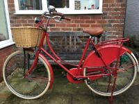 Red Bobbin Glorie bike 3 speed Dutch bicycle with wicker basket