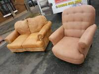 Brown genuine untreated leather sofa and sude armchair