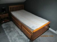 child's pine single bed with draws and matress