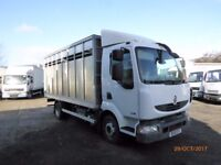 2010 Renault Midlum 180 7.5 ton fitted with a New Edwards 16ft livestock box