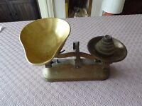 Set of sweet scales. c1950s, with weights half ounce to one pound