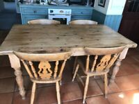 Kitchen/Dining Room Pine Table and 4 Chairs