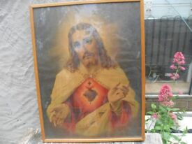 VINTAGE PICTURE OF CHRIST THE SACRED HEART