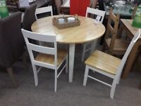 White/Light Wood Round Table and 4 Chairs