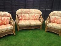 3 piece conservatory set, whicker and lush cushions, superb nick