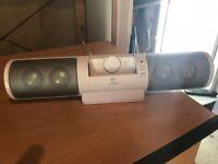 Logitech ipod dock, mains & battery.