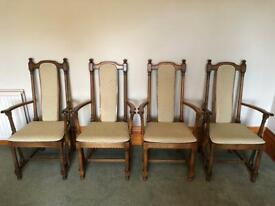 4 Ercol Carver dinner dining chairs with seat cushions