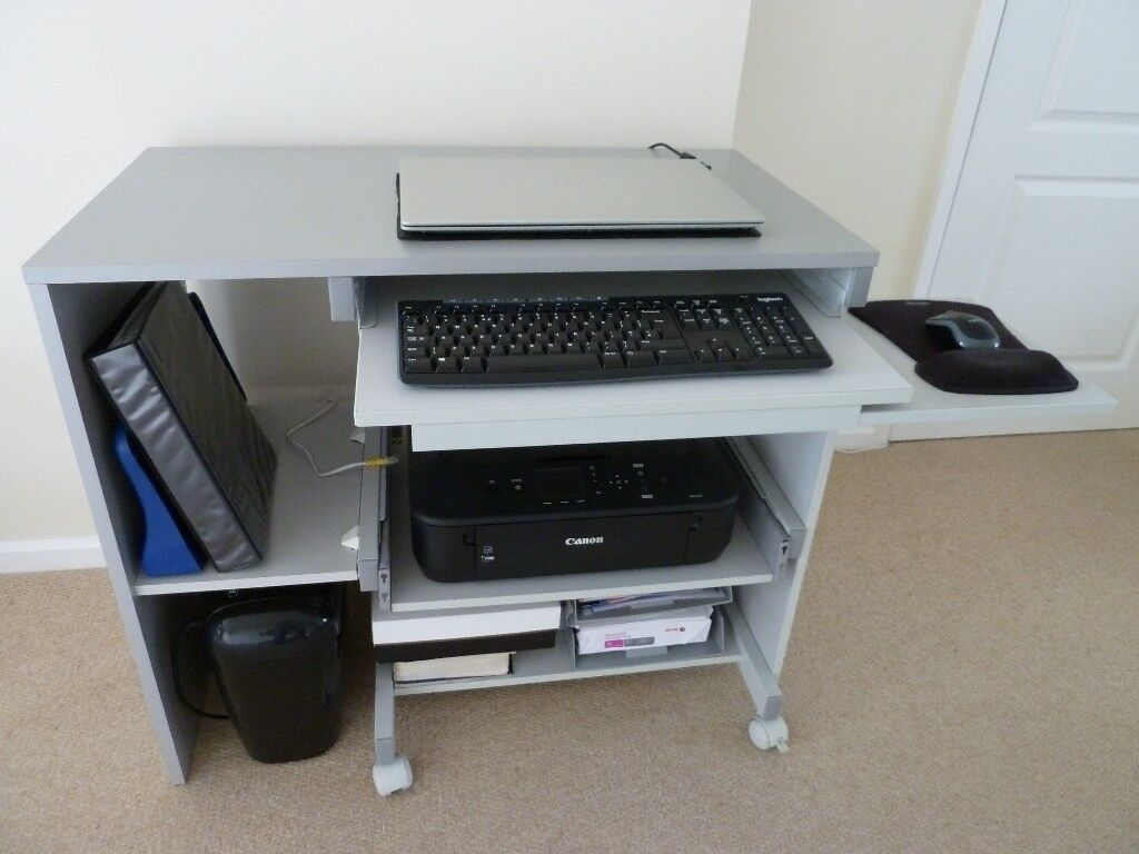 Computer Desk In Silver Grey Pull Out Shelves For Printer Keyboard And Mouse
