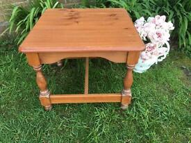 Lovely vintage solid pine square coffee table nice condition
