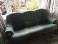 Leather and Wooden Sofa