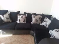 LARGE BLACK CORD CORNER SOFA FULLY REUPHOLSTERED + FREE DELIVERY.