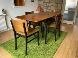 Vintage retro French polished teak extendable dining table with 6 chairs