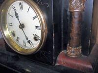 c;1895 ebony/wood chimeing mantle clock...