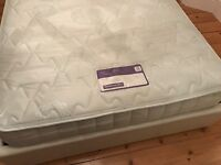 Small double bed , white faux leather ,under bed storage