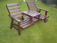 Large Wooden 2 Seater Garden Bench With Cushions and Umbrella