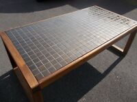 Large Wooden Habitat Table with a Tiled Top