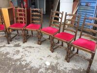 Dining table x6 ladder back chairs