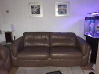 Leather Three Seater Sofa,Armchair & Storage Footstool