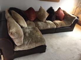 Large Suede/Leather Corner Sofa