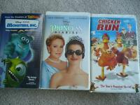 3 Classic VHS - Monster Inc., Chicken Run, Princess Diaries 1