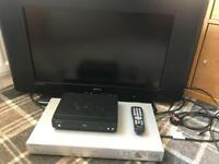 "26"" Television, free view box & DVD player"