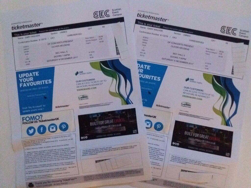 Oliver Heldens Tickets x 2 - Saturday 9th December - SEC Glasgow - £35 Each - Tickets In Hand