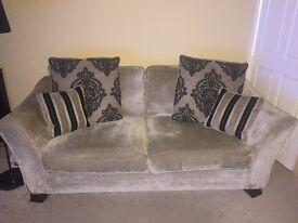 3 seat quality sofa from furniture village brushed velvet