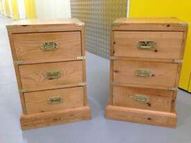Pair Solid pine military Style bedside Cabinets / tables Laura Ashley John Lewis habitat loaf oka