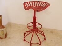 New Cast Iron Tractor Seat / Bar Stool- Red