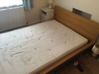 double wooden bed frame Ikea Malm oak style