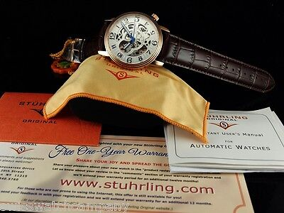 Stuhrling Original Men's Skeleton Delphi Oracle Automatic 18KRGIP Leather Watch