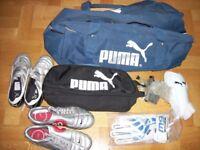 PUMA/NIKE BOOTS/BAG/HOLDALL/SHIN PADS/GOALIE GLOVES
