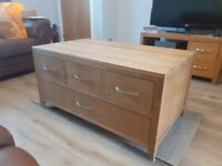 Solid Oak Coffee Table Including Storage