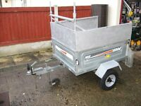 ERDE 102 TIPPING TRAILER WITH NEW WHEELS & TYRES, LADDER RACK, SPARE WHEELS AND TRAILER CLAMP