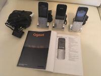 Siemens SL785 Gigaset 3 phone metal cordless handsets plus digital integrated answermachine