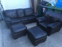 Leather sofa, chair and 2 footstool