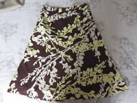 h & m womens skirt, brown, yellow, white size 8