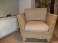 M&S RATTAN ARMCHAIR (FIRE PROOF) OATMEAL CUSHIONS CAN BE REMOVED FOR WASHING